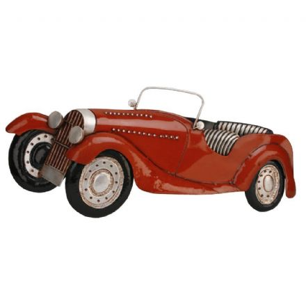 Large Rustic Metal Wall Art - 1930's Style Red Convertible Car